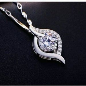 925 Sterling Silver Necklace CZ Pendant